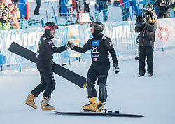 Baumeister Stefan and Sarsembaev Dmitry during the FIS snowboarding world cup race in Rogla (SI / SLO) | GS on January 20, 2018, in Jasna Ski slope, Rogla, Slovenia. Photo by Urban Meglic / Sportida