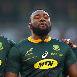 Siya Kolisi (captain) of South Africa with Tendai Mtawarira of South Africa on his 100th cap and Bongi Mbonambi of South Africa during the 2018 Castle Lager Incoming Series 2nd Test match between South Africa and England at the Toyota Stadium.Bloemfontein,South Africa. 16,06,2018 Photo by (Steve Haag JMP)