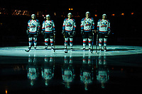 KELOWNA, CANADA - APRIL 26: Reid Gardiner #23, Nick Merkley #10, Calvin Thurkauf #27, Cal Foote #25 and Gordie Ballhorn #4 of the Kelowna Rockets make up the starting line up against the Seattle Thunderbirds on April 26, 2017 at Prospera Place in Kelowna, British Columbia, Canada.  (Photo by Marissa Baecker/Shoot the Breeze)  *** Local Caption ***