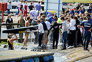 Nottingham, Great Britain, ENGLAND,  Shiplake College, first eight,  removing their waterlogged boat from the dock, after finishing the morning processional race, at the 2008 National Schools Regatta, Holme Pierrepont,  Saturday,  24/05/2008.  [Mandatory Credit:  Peter Spurrier/Intersport Images]