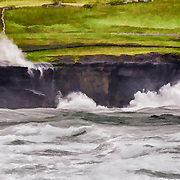 The surf is pounding against the rocky shore in Doolan, County Clare, Ireland.  The weather was especially rough that day.  You can see how choppy the water is hand how high the waves are pounding against the shore.  This is a stylized version of the image.