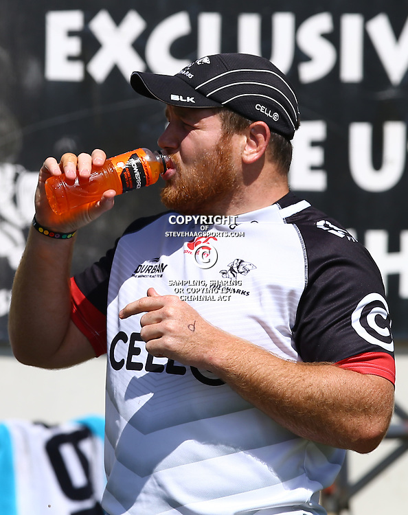 DURBAN, SOUTH AFRICA - FEBRUARY 16: Lourens Adriaanse during the Cell C Sharks training session at Growthpoint Kings Park on February 16, 2017 in Durban, South Africa. (Photo by Steve Haag/Gallo Images)