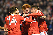 The Reds celebrates after scoring a goal to make it 1-1 during the EFL Sky Bet Championship match between Nottingham Forest and Reading at the City Ground, Nottingham, England on 20 February 2018. Picture by Jon Hobley.