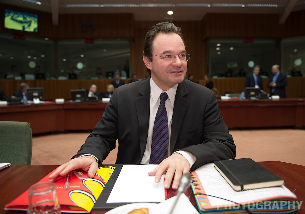 George Papaconstantinou, Greece's finance minister, arrives for the meeting of European Union finance ministers, at the EU headquarters in Brussels, Belgium, on Tuesday, March 16, 2010. (Photo © Jock Fistick)
