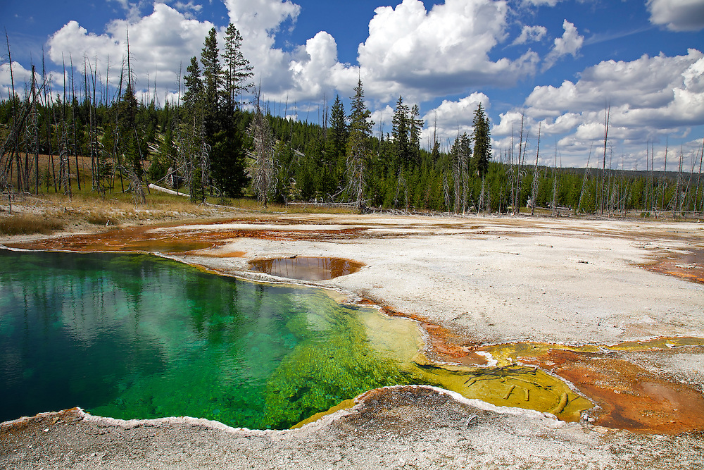With a depth 53 feet (and a temp of 172°F), Abyss Pool is the deepest pool known in Yellowstone. The dark blue/green-colored hot spring is one of the most colorful in the West Thumb Geyser Basin.