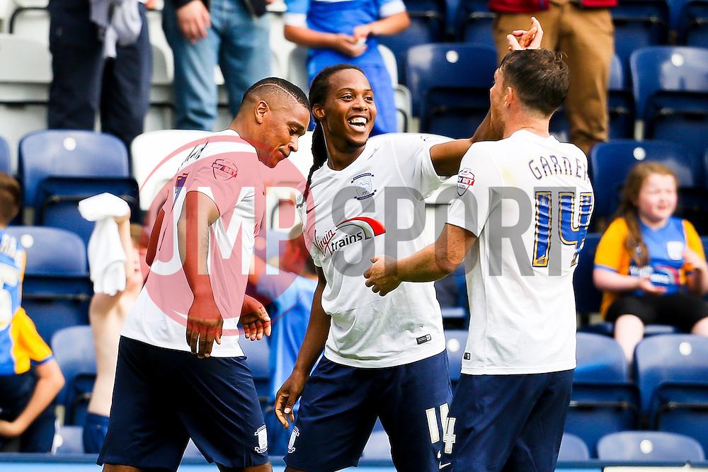 Daniel Johnson of Preston North End celebrates after scoring the equalising goal to make it 1-1 - Mandatory byline: Matt McNulty/JMP - 07966386802 - 22/08/2015 - FOOTBALL - Deepdale -Preston,England - Preston North End v Ipswich Town - Sky Bet Championship