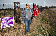 Cherri Foytlin at the entrance to  land she purchased for  Louisiana Rise, an advocacy group she founded that focuses on renewable energy and a just transition, which the Bayou Bridge pipeline is slated to cross. On December 16 anti-pipeline activists calling themselves water protectors gathered in Rayne, Louisiana, on land for a ceremony  where Foytlin requested and was granted a blessing and permission from the Atakapa-Ishak Nation to use the land that once belonged to the tribe.