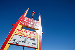 El Camino Family Restaurant sign advertising red or green chiles. Socorro, New Mexico, USA.