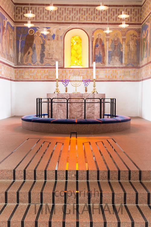 Altar at Jelling Kirke (Gudstjeneste) famous modern architecture church birthplace of Christianity in Denmark
