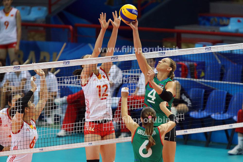 Azerbaijan Oksana Kurt sets a ball