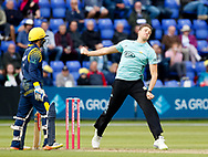Surrey's Morne Morkel bowls to Glamorgan's Craig Meschede<br /> <br /> Photographer Simon King/Replay Images<br /> <br /> Vitality Blast T20 - Round 14 - Glamorgan v Surrey - Friday 17th August 2018 - Sophia Gardens - Cardiff<br /> <br /> World Copyright &copy; Replay Images . All rights reserved. info@replayimages.co.uk - http://replayimages.co.uk