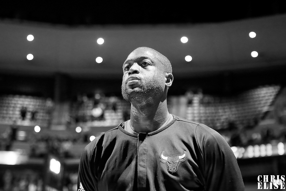 22 November 2016:  Chicago Bulls guard Dwyane Wade (3) stands during the national anthem prior to the Denver Nuggets 110-107 victory over the Chicago Bulls, at the Pepsi Center, Denver, Colorado, USA.