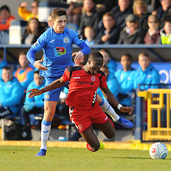 TELFORD COPYRIGHT MIKE SHERIDAN 16/2/2019 - Dan Udoh of AFC Telford is hauled down during the Vanarama Conference North fixture between Stockport County and AFC Telford United at Edgeley Park