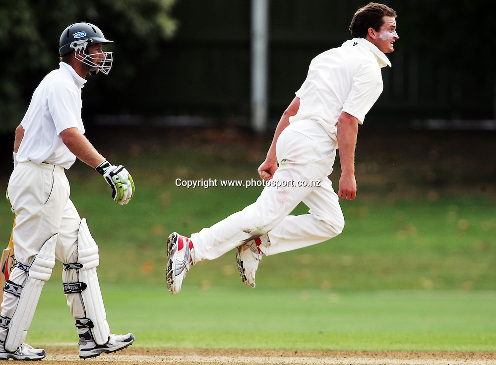 Lance Shaw follows through after bowling on day 4 of the State Championship cricket match between the Auckland Aces and the Central Stags at Eden Park, Auckland, New Zealand on Thursday 8 March 2007. Photo: Hannah Johnston/PHOTOSPORT<br /><br /><br /><br />080307