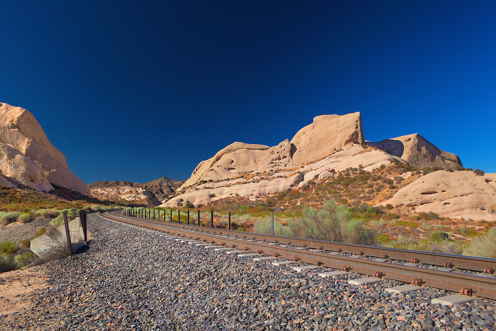 Mormon Rocks And Railroad Tracks - North View - HDR
