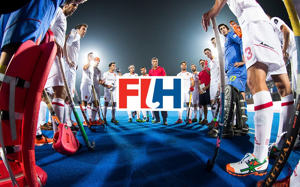 BHUBANESWAR - The Odisha Men's Hockey World League Final . Match ID 07,   Belgium v Spain. coach Frederic Soyez (Esp) with his team.   WORLDSPORTPICS COPYRIGHT  KOEN SUYK