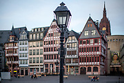 """Germany banned gatherings of more than 2 people called """"social distancing"""" because of the coronavirus. The empty city center called """"Römer"""" in Frankfurt am Main during a normally busy Thursday evening."""