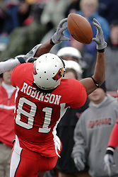 04 November 2006: Laurent Robinson stumbles backwards as he tries to make a catch.  The pass was incomplete. In a decisive victory, the Illinois State Redbirds defeat the Missouri State Bears 38-14 at Hancock Stadium on the campus of Illinois State University in Normal Illinois.<br />