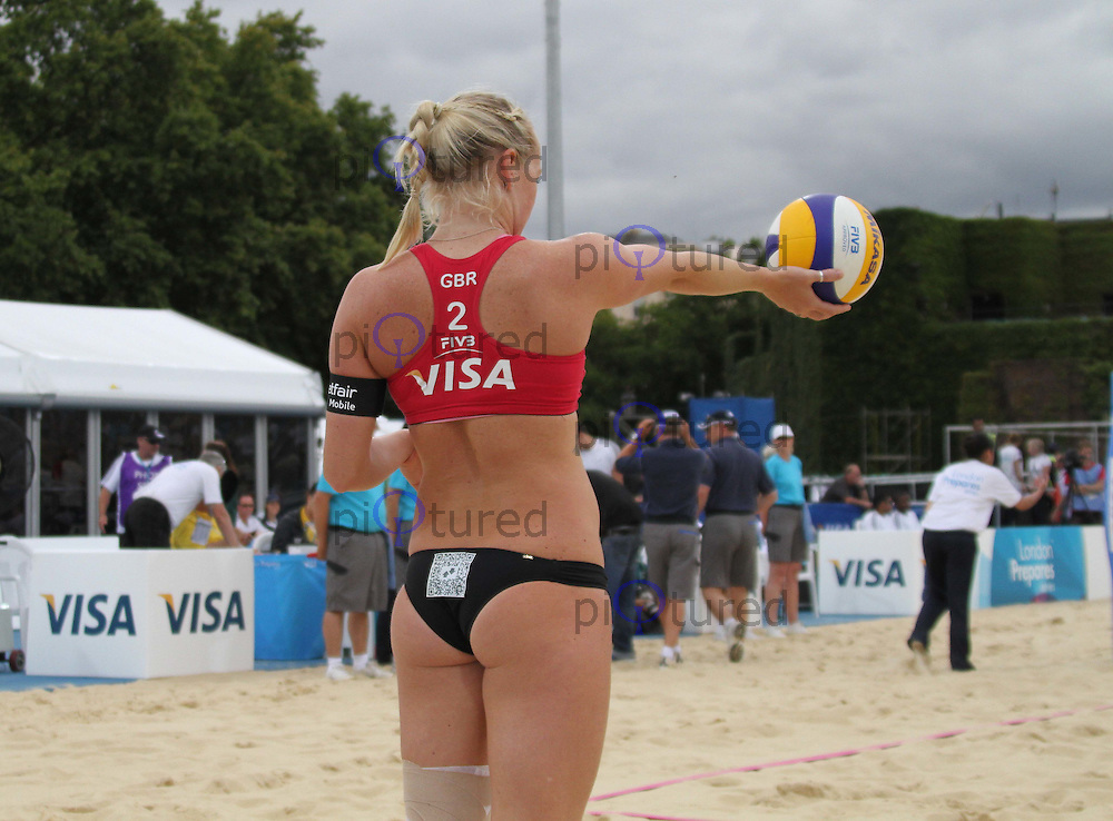 Shauna Mullin (Great Britain) Visa FIVB Beach Volleyball International - London 2012 test event - Horse Guards Parade, London, UK, 13 August 2011:  Contact: Rich@Piqtured.com +44(0)7941 079620 (Picture by Richard Goldschmidt)