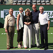 Vic Braden is honored during a ceremony on Stadium 1 at the 2015 BNP Paribas Open in Indian Wells, California on Thursday, March 19, 2015. From left: Ralph Braden,Kris Paul, Melody Braden, Steve Simon and Raymond Moore.<br />