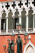 Street lamp and Venitian Gothic architecture at Palazzo Dandolo, Venice, Veneto, Italy