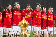 Canadian players line up for the anthems with the world cup on display during the Rugby World Cup qualifier between Hong Kong and Canada at Stade Delort, Marseilles, France on 23 November 2018. Picture by Ian  Muir.
