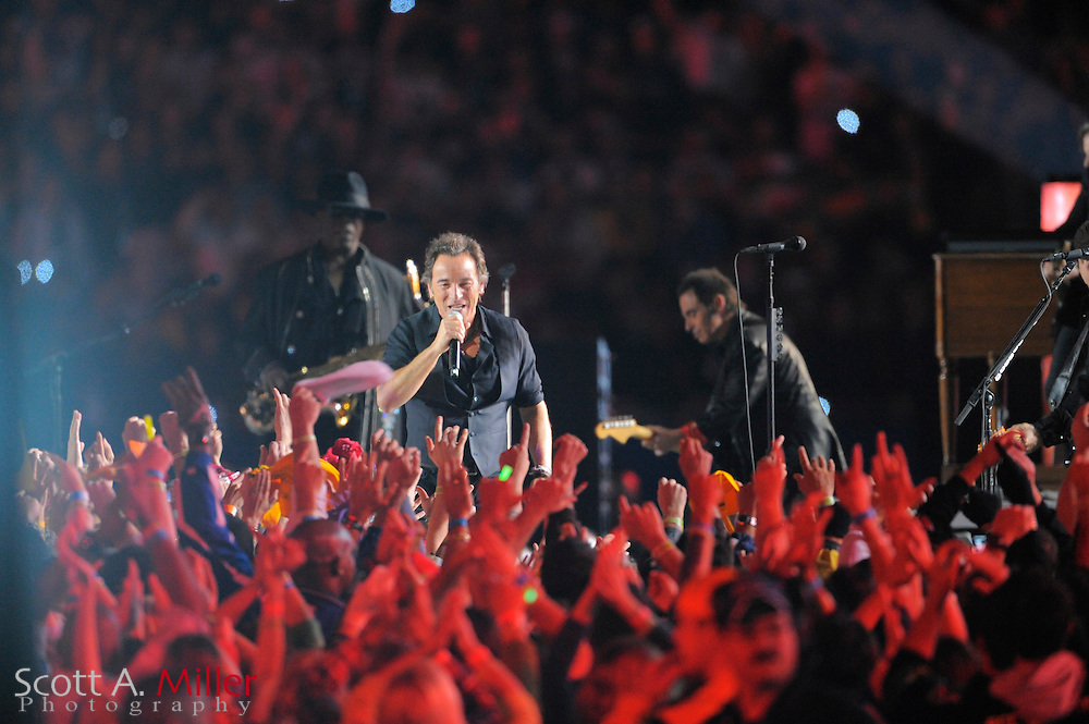 Feb 1, 2009; Tampa, FL, USA; Bruce Springsteen and the E Street band perform at half time of the Pittsburgh Steelers 27-23 win over the Arizona Cardinals in Super Bowl XLIII at Raymond James Stadium. ©2009 Scott A. Miller.