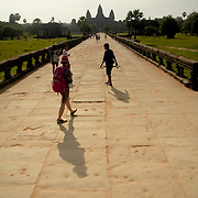Tourists at Angkor Wat's main entrance