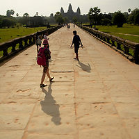 Tourists at Angkor Wat's main entrance
