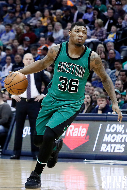 10 March 2017: Boston Celtics guard Marcus Smart (36) drives during the Denver Nuggets 119-99 victory over the Boston Celtics, at the Pepsi Center, Denver, Colorado, USA.