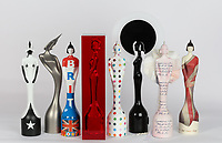 """The BRIT Awards 2011-2018,The BRIT Awards revealed the 2018 BRIT Award, created by acclaimed sculptor Sir Anish Kapoor. <br /> The BRIT Awards has an eight-year tradition of inviting iconic British artists to design the Award, and we've seen all manner of wonderful interpretations. But Kapoor's reimagined Britannia, cast and encased in a solid block in the artist's signature blood red hue is special; like nothing we've seen before. He told journalists, """"I am pleased to have designed the BRIT award for 2018. Sculpture is often a process of positive and negative form. I have made the award using both.""""<br /> <br /> From Left to Right:<br /> 2016 Pam Hogg<br /> 2017 Dame Zaha Hadid<br /> 2012 Sir Peter Blake<br /> 2018 Sir Anish Kapoor<br /> 2013 Damien Hirst<br /> 2014 Philip Treacy<br />2015 Tracey Emin CBE<br /> 2011 Dame Vivienne Westwood<br /><br />Photo:John Marshall/JM Enternational"""