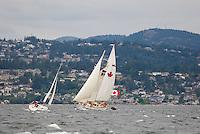 "Sailing vessel, ""Maple Leaf"" under full sail off of Ogden Point, Esquimalt in the background.  Victoria, British Columbia, Canada."