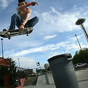 skatepark.Jason Singler, 17, flies over a trash can at the Seattle Center skatepark on Tuesday, June 13, 2006 in Seattle.   Photo by Joshua Trujillo / Seattle Post-Intelligencertelligencer