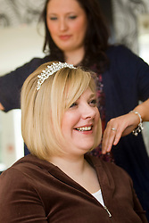 Lumia Day Spa, Bridge of Allan, www.lumiaspa.com..Pics of models getting hair & make-up for Wedding Show taking place tomorrow at The Albert Hall..©2010 Michael Schofield. All Rights Reserved.