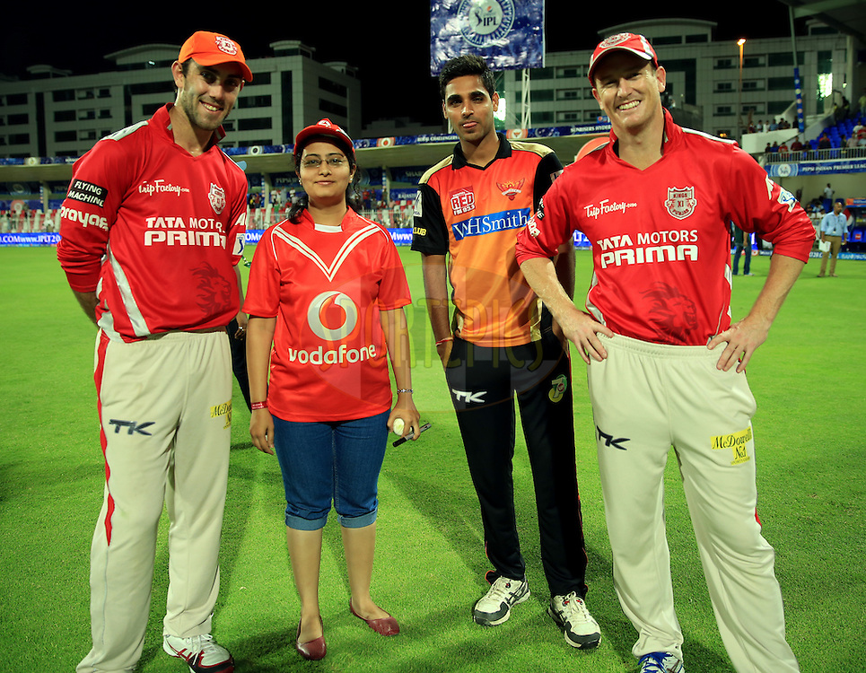 Glenn Maxwell of the Kings X1 Punjab(LTO R) Vodafone Winner,Bhuvneshwar Kumar of the Sunrisers Hyderabad and  George Bailey of the Kings X1 Punjab during the presentation of the match 9 of the Pepsi Indian Premier League 2014 between the The Kings XI Punjab and the Sunrisers Hyderabad held at the Sharjah Cricket Stadium, Sharjah, United Arab Emirates on the 22nd April 2014<br /> <br /> Photo by Sandeep Shetty / IPL / SPORTZPICS