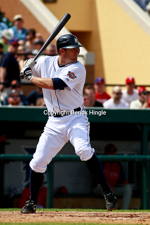 March 9, 2011; Lakeland, FL, USA; Detroit Tigers left fielder Don Kelly (32) during a spring training exhibition game against the Philadelphia Phillies at Joker Marchant Stadium.   Mandatory Credit: Derick E. Hingle
