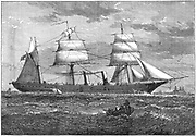 Dispatch vessel 'HMS Iris'.  Launched in 1877, this was the first steel ship built for the British Admiralty. Constructed of steel made by the Siemens-Martin process at Landore Siemens Steel Company, Swansea, Wales. A transitional vessel with both sails and steam engines. From 'Great Industries of Great Britain', (London, c1880). Wood engraving.
