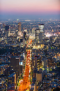 Tokyo skyline view at sunset. Looking from ropponghi Hills along Metropoliton Expressway No 3 lookingn towards Shibuya.