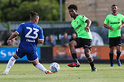 Forest Green Rovers Reuben Reid(26) plays the ball forward during the Pre-Season Friendly match between Forest Green Rovers and Leeds United at the New Lawn, Forest Green, United Kingdom on 17 July 2018. Picture by Shane Healey.