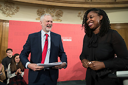 © Licensed to London News Pictures . 20/04/2017 . London , UK . DAWN BUTLER (r) hosts after JEREMY CORBYN (l) delivers a speech to launch the Labour Party's campaign in the 2017 General Election , at Church House in Westminster . Photo credit: Joel Goodman/LNP