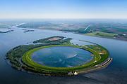 Nederland, Flevoland-Overijssel, Ketelmeer, 07-05-2018; IJsseloog, gezien naar Flevoland. Slibdepot voor de verontreinigde slib uit het Ketelmeer zoals aangevoerd door de IJssel. Het saneren van het Ketelmeer is noodzakelijk om plannen op het gebied van recreatie en natuur mogelijk te maken. IJsseloog, depot for the contaminated sludge from the sludge Ketelmeer as alleged by the IJssel. The rehabilitation of the Ketelmeer is necessary to allow for planning of future nature and recreational development. <br /> luchtfoto (toeslag op standard tarieven);<br /> aerial photo (additional fee required);<br /> copyright foto/photo Siebe Swart