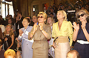 Catherine Deneuve, Nan Kempner and Deda Blair. Yves St. Laurent couture show. Intercontinental. Paris. 11 July 2001. © Copyright Photograph by Dafydd Jones 66 Stockwell Park Rd. London SW9 0DA Tel 020 7733 0108 www.dafjones.com