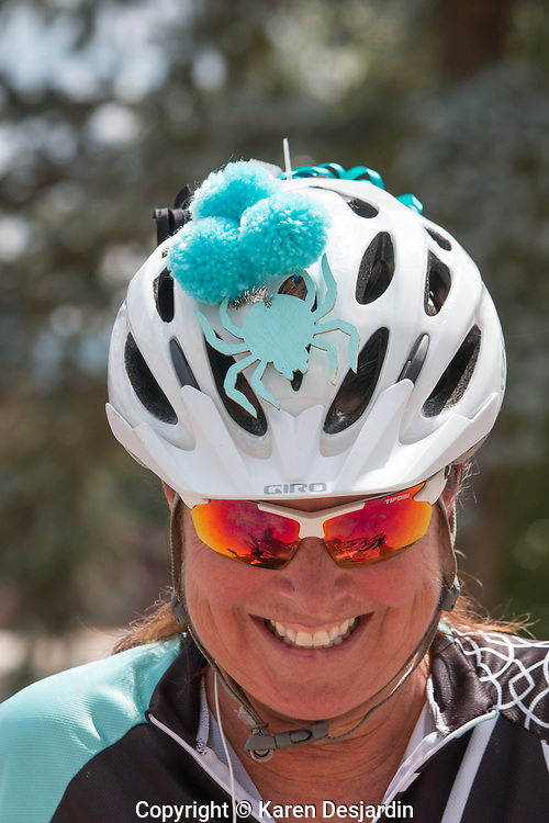 Bicycle helmet decorated with spider motif