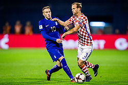 Kostas Fortounis of Greece and Ivan Strinic of Croatia during the football match between National teams of Croatia and Greece in First leg of Playoff Round of European Qualifiers for the FIFA World Cup Russia 2018, on November 9, 2017 in Stadion Maksimir, Zagreb, Croatia. Photo by Ziga Zupan / Sportida