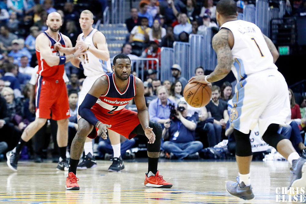 08 March 2017: Washington Wizards guard John Wall (2) is seen on defense during the Washington Wizards 123-113 victory over the Denver Nuggets, at the Pepsi Center, Denver, Colorado, USA.