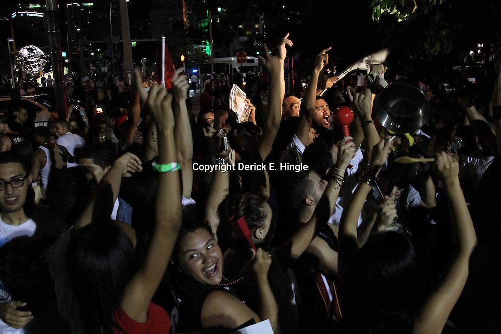 Jun 21, 2012; Miami, FL, USA; General view outside of the American Airlines Arena after the Miami Heat won the 2012 NBA championship. Miami won 121-106. Mandatory Credit: Derick E. Hingle-US PRESSWIRE