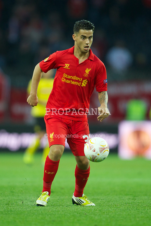BERNE, SWITZERLAND - Thursday, September 20, 2012: Liverpool's 'Suso' Jesus Joaquin Fernandez Saenz De La Torre in action against BSC Young Boys during the UEFA Europa League Group A match at the Wankdorf Stadion. (Pic by David Rawcliffe/Propaganda)