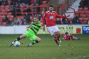 Forest Green Rovers Liam Noble(15) shoots at goal misses the target during the Vanarama National League match between Wrexham FC and Forest Green Rovers at the Racecourse Ground, Wrexham, United Kingdom on 26 November 2016. Photo by Shane Healey.