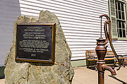 Jacksonville historic landmark plaque and water pump, Jacksonville, Oregon USA