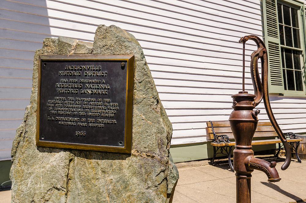 Jacksonville historic landmark plaque and water pump, Jacksonville, Oregon USA